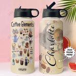 Coffee Personalized NNR0411007 Stainless Steel Bottle With Straw Lid