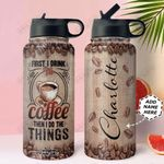 Coffee Personalized NNR0411008 Stainless Steel Bottle With Straw Lid
