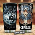 Native Wolf Girl Personalized KD2 HNM0411002 Stainless Steel Tumbler