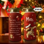 Christmas Letter Pug Dabbing Personalized THS0511002 Stainless Steel Bottle With Straw Lid