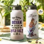 Mermaid Dreams Of The Ocean Personalized THS0511004 Stainless Steel Bottle With Straw Lid