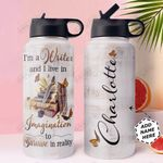 Writer Personalized NNR0611003 Stainless Steel Bottle With Straw Lid