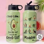 Avocado Workout Personalized THA0611017 Stainless Steel Bottle With Straw Lid