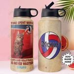 Volleyball Cat Personalized MDA0611008 Stainless Steel Bottle With Straw Lid