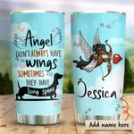 Black Dachshund Angel Personalized KD2 HRX0611001 Stainless Steel Tumbler