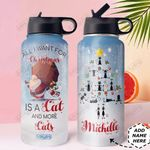 Christmas Black Cat Personalized DNS0611001 Stainless Steel Bottle With Straw Lid