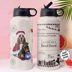 Christmas Letter Basset Hound Personalized THS0611003 Stainless Steel Bottle With Straw Lid