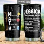 Personalized Math Teacher Nutrition Facts TAZ0611012 Stainless Steel Tumbler
