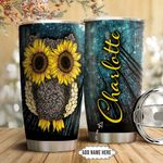 Owl Sunflower Personalized NNR0911011 Stainless Steel Tumbler