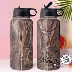 Deer Hunt Personalized HHA0911010 Stainless Steel Bottle With Straw Lid