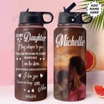 To BW Daughter Personalized HHA0911013 Stainless Steel Bottle With Straw Lid