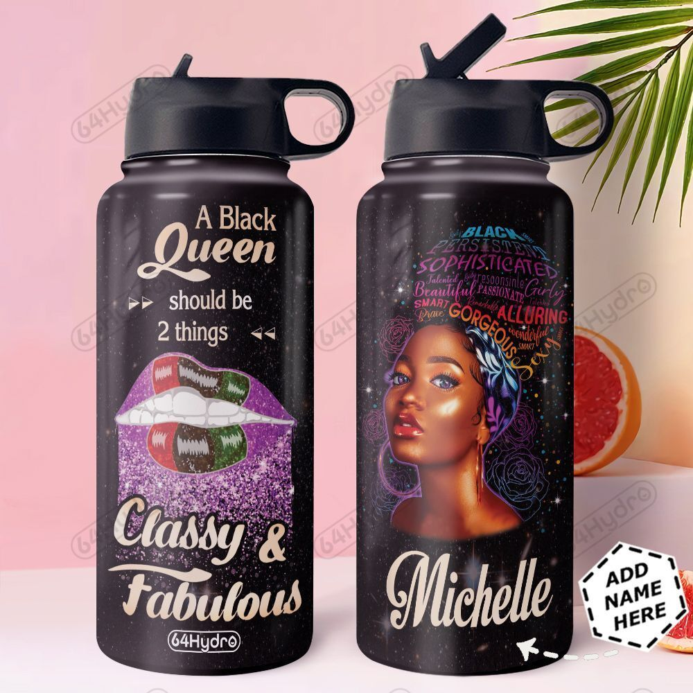 Black Queen Lips Personalized HHS0911002 Stainless Steel Bottle With Straw Lid