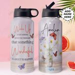 Butterfly Personalized DNR0911024 Stainless Steel Bottle With Straw Lid