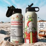 Elephant Christmas Fact Personalized TTR0911029 Stainless Steel Bottle With Straw Lid