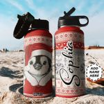 Penguin Christmas Personalized TTR0911033 Stainless Steel Bottle With Straw Lid
