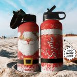 Santa Claus Personalized TTR0911034 Stainless Steel Bottle With Straw Lid