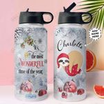 Sloth Christmas Personalized NNR0911036 Stainless Steel Bottle With Straw Lid