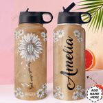 Turtle Faith Personalized DNR0911039 Stainless Steel Bottle With Straw Lid