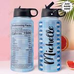 Swimming Facts Personalized MDA1011015 Stainless Steel Bottle With Straw Lid
