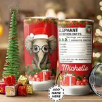 Christmas Elephant Personalized HTC1011003 Stainless Steel Tumbler