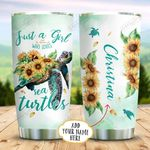 Sunflower Sea Turtle Girl Personalized KD2 BGX1111004 Stainless Steel Tumbler