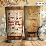 Baseball Pitch Grips Personalized NNR1211001 Stainless Steel Tumbler