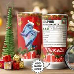 Christmas Dolphin Personalized HTC1211007 Stainless Steel Tumbler
