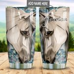 Personalized White Horse Paper Craft Style TTZ1311037 Stainless Steel Tumbler
