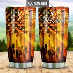 Personalized American Flag Horse TTZ1311004 Stainless Steel Tumbler