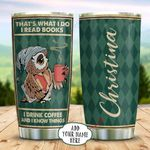Book Coffee Owl Personalized KD2 BGX1311002 Stainless Steel Tumbler