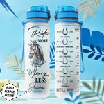 Personalized Horse Ride More Worry Less TTZ1311039 Water Tracker Bottle