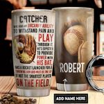 Catcher Baseball Personalized DNR1411007 Stainless Steel Tumbler