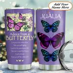 Purple Butterfly Personalized KD2 HAL1611015 Stainless Steel Tumbler