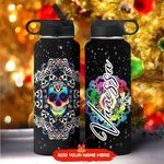 Skull Mandala Personalized KD2 MAL1711008 Stainless Steel Bottle With Straw Lid