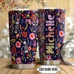 Flower Skull Personalized HTC1911008 Stainless Steel Tumbler