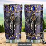 Personalized Purple Elephant Leather Style TTZ1911021 Stainless Steel Tumbler