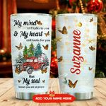 Butterfly Red Truck Christmas Personalized KD2 MAL1911003 Stainless Steel Tumbler
