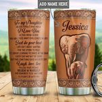 Personalized Elephant Mom To Daughter Leather Style HLZ2011013 Stainless Steel Tumbler