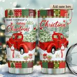 Red Truck Merry Personalized KD2 HRX2011003 Stainless Steel Tumbler