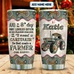 Tractor Farmer Faith Mandala Personalized KD2 MAL1612013 Stainless Steel Tumbler