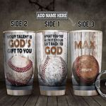 Baseball God Gift Personalized HHS1812002 Stainless Steel Tumbler