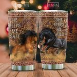 Wooden Style Horse Wild Couple KD2 HAL2212012 Stainless Steel Tumbler