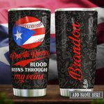 Puerto Rico Baseball Blood Personalized KD2 HRX2512002 Stainless Steel Tumbler