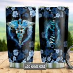 Personalized Blue Flower Nurse Symbol DNZ2512002 Stainless Steel Tumbler