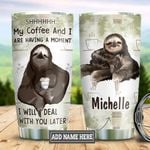 Personalized Sloth Coffee DNS2512011 Stainless Steel Tumbler