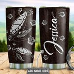 Personalized Hibicus Turtle Leather Style TTZ3112003 Stainless Steel Tumbler