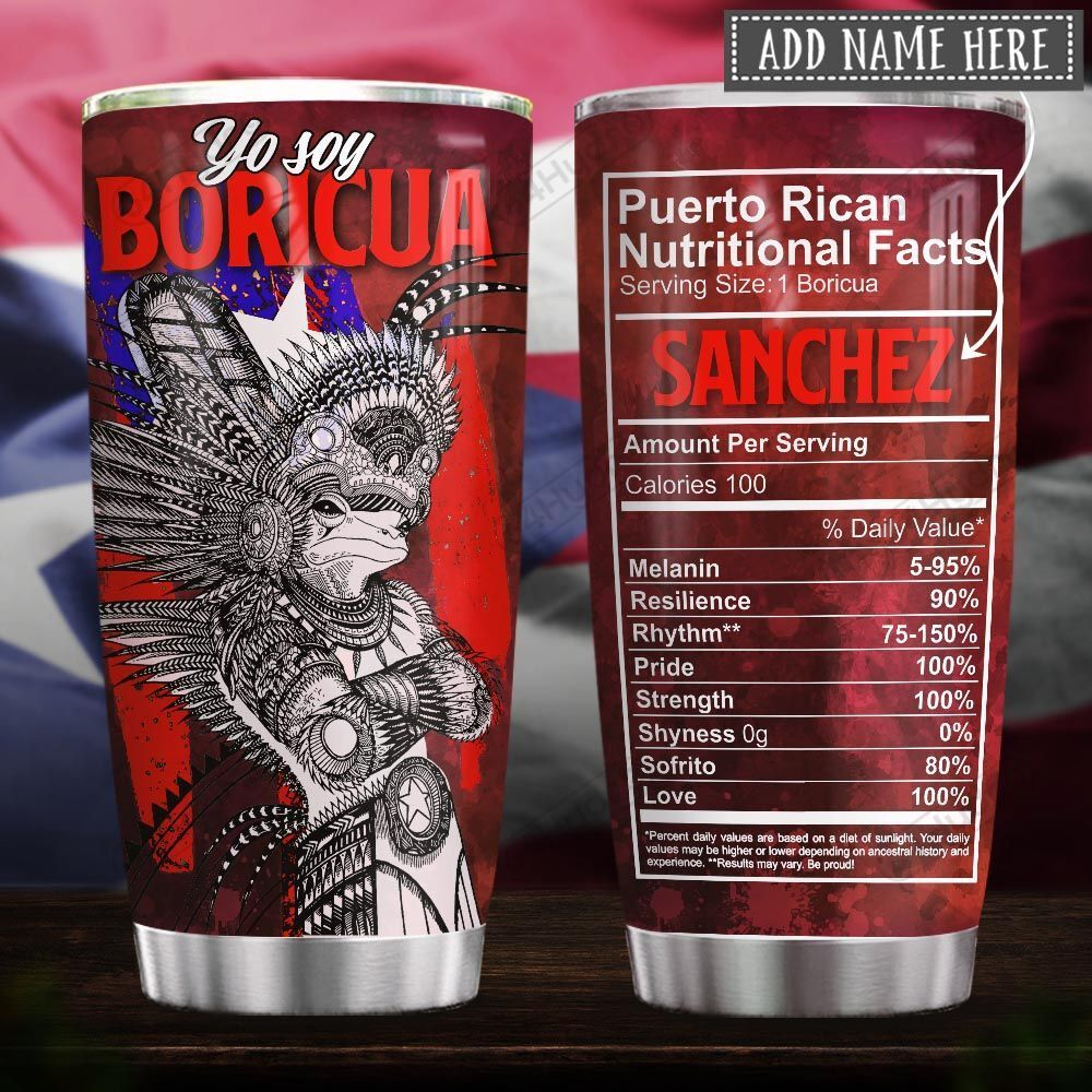 Puerto Rican Coqui Taino Warrior Nutrition Facts Personalized KD2 HRX0401004Z Stainless Steel Tumbler
