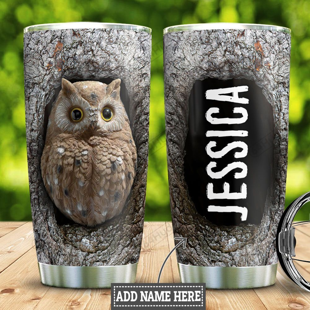 Personalized White Owl Wood Style HLZ0401040Z Stainless Steel Tumbler