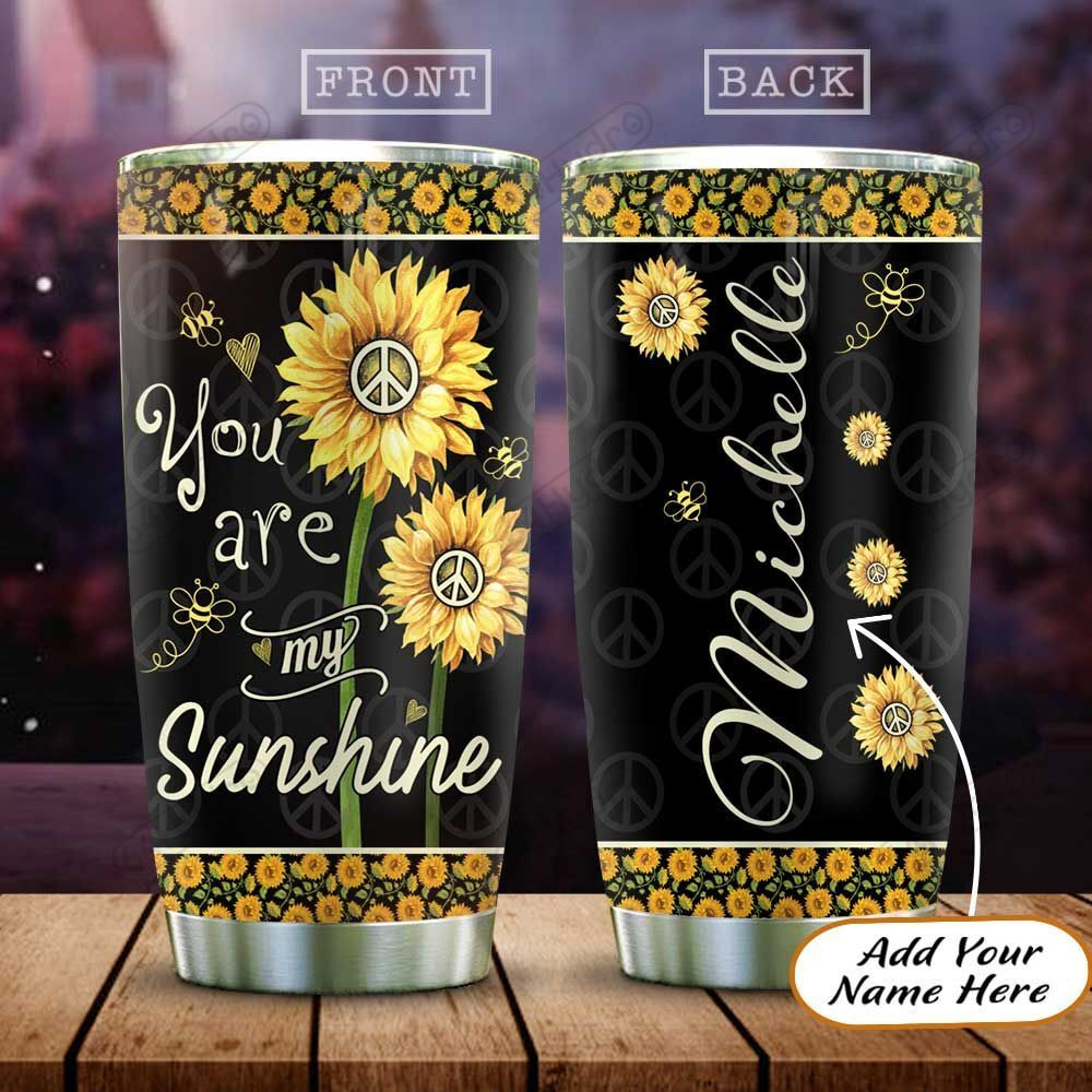 Personalized Peace Sunflower Bee HAZ0401043Z Stainless Steel Tumbler
