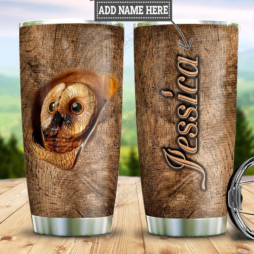 Personalized Owl Wood Style TTZ0401033Z Stainless Steel Tumbler